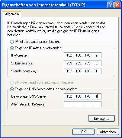Windows XP - IP und DNS ändern