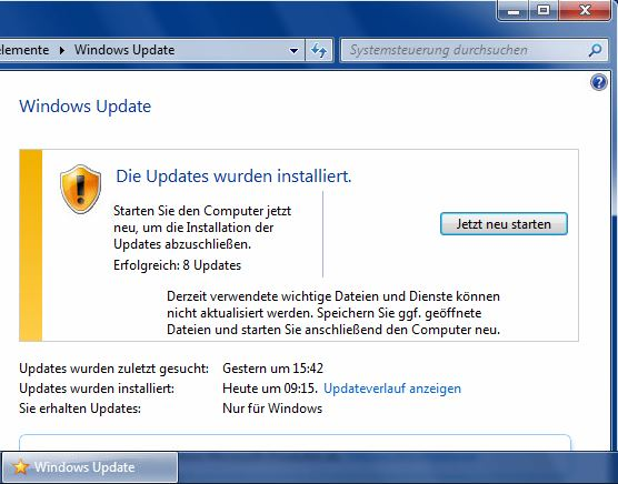 Windows Update Sternsymbol