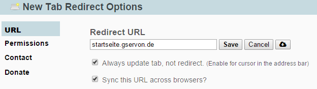 """New Tab Redirect"" Chrome-Plugin"
